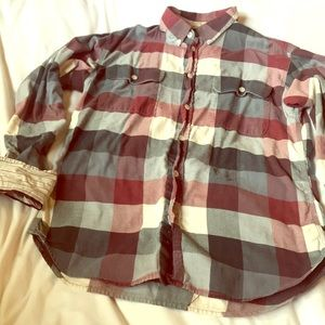Like new Penguin flannel check button down